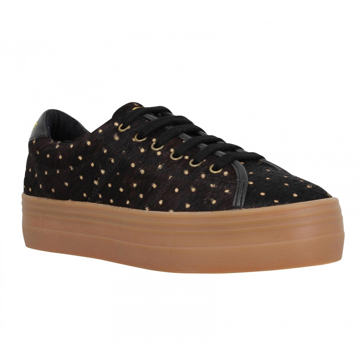Compensées NO NAME Plato Sneaker pony dots Femme Black