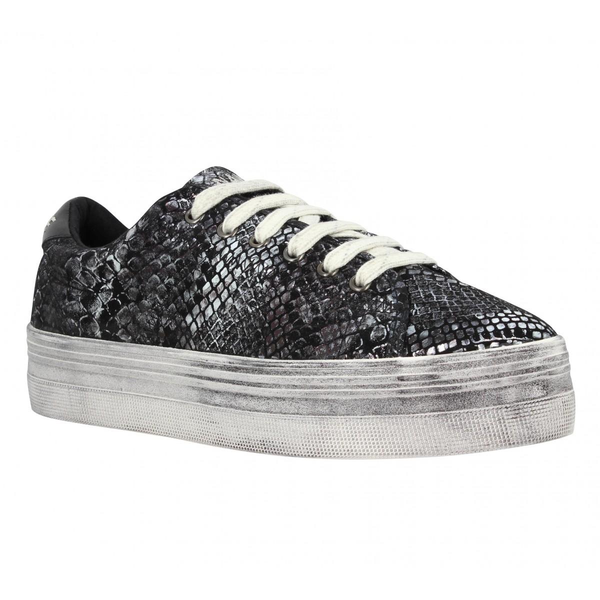 Compensées NO NAME Plato Sneaker shiny snake Femme Noir
