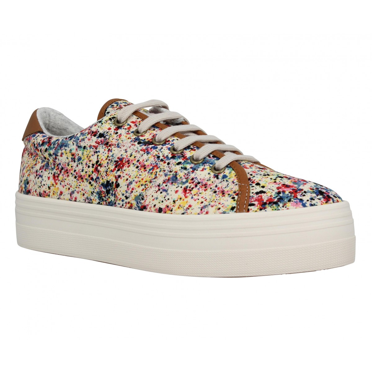 Compensées NO NAME Plato Sneaker toile Drip Femme Pink
