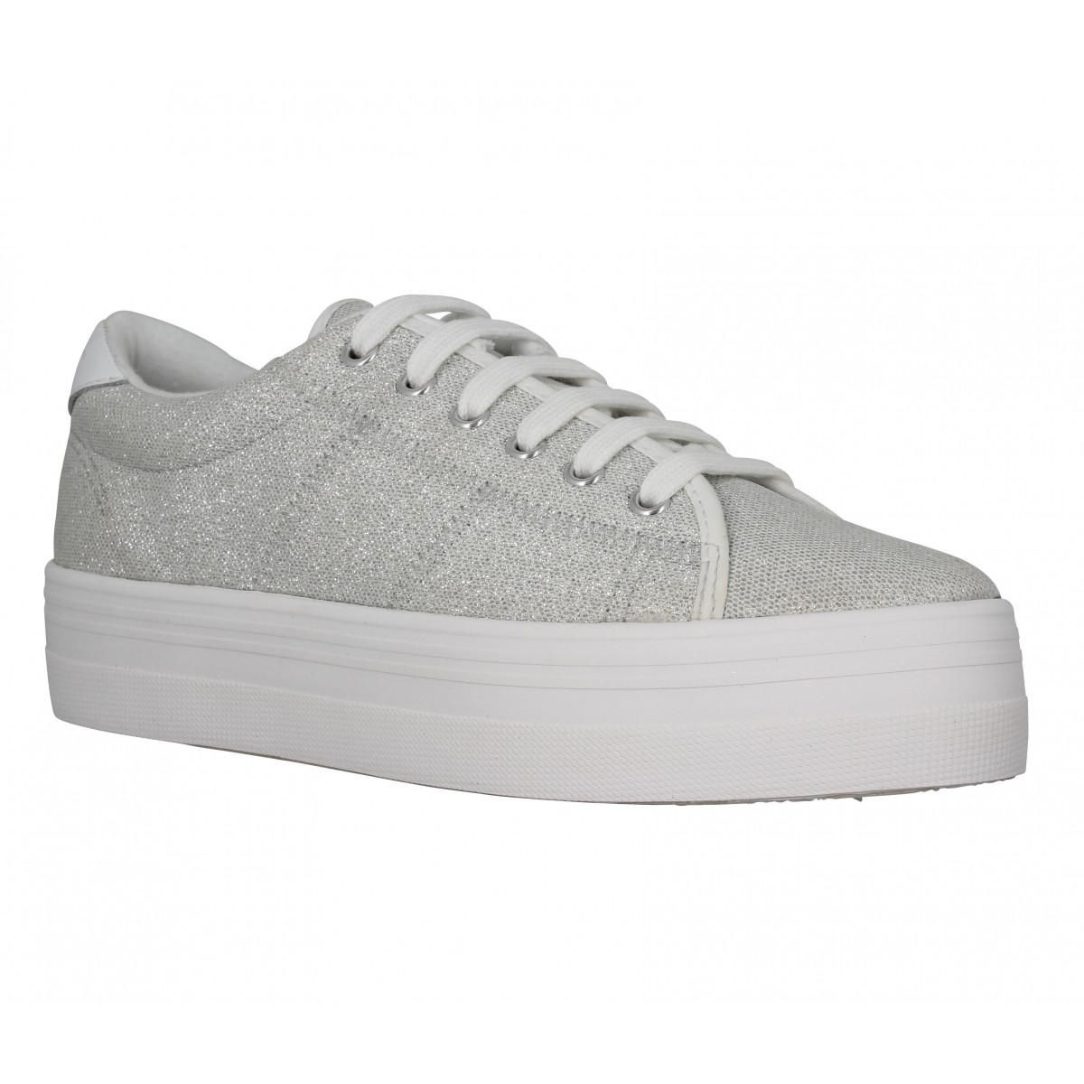 Compensées NO NAME Plato Sneaker toile Strass Femme Platine