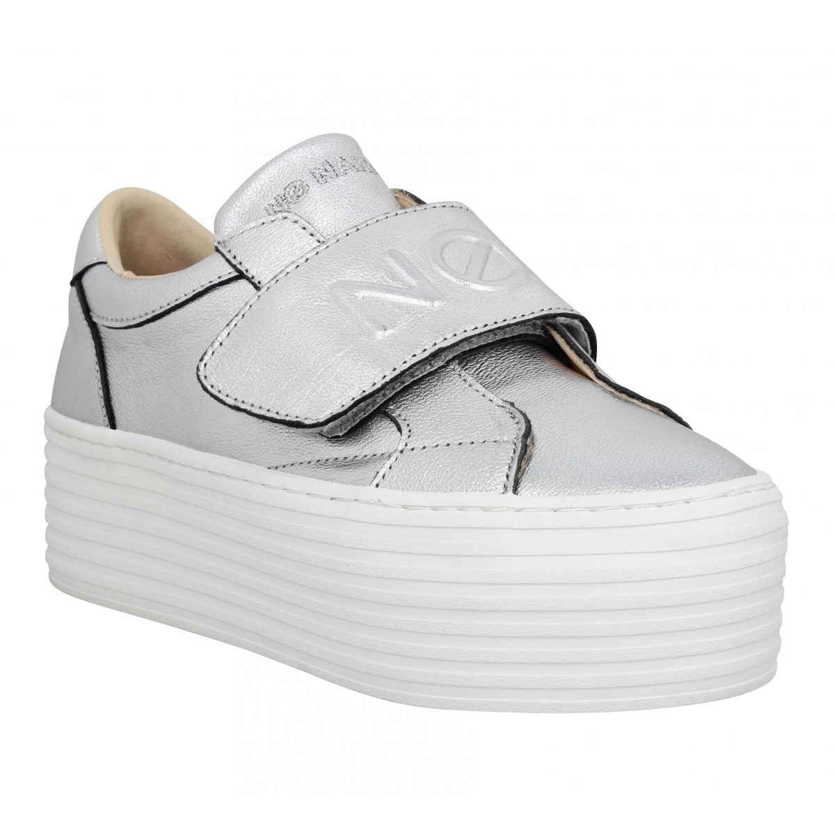 Baskets NO NAME Spice Easy cuir Femme Argent