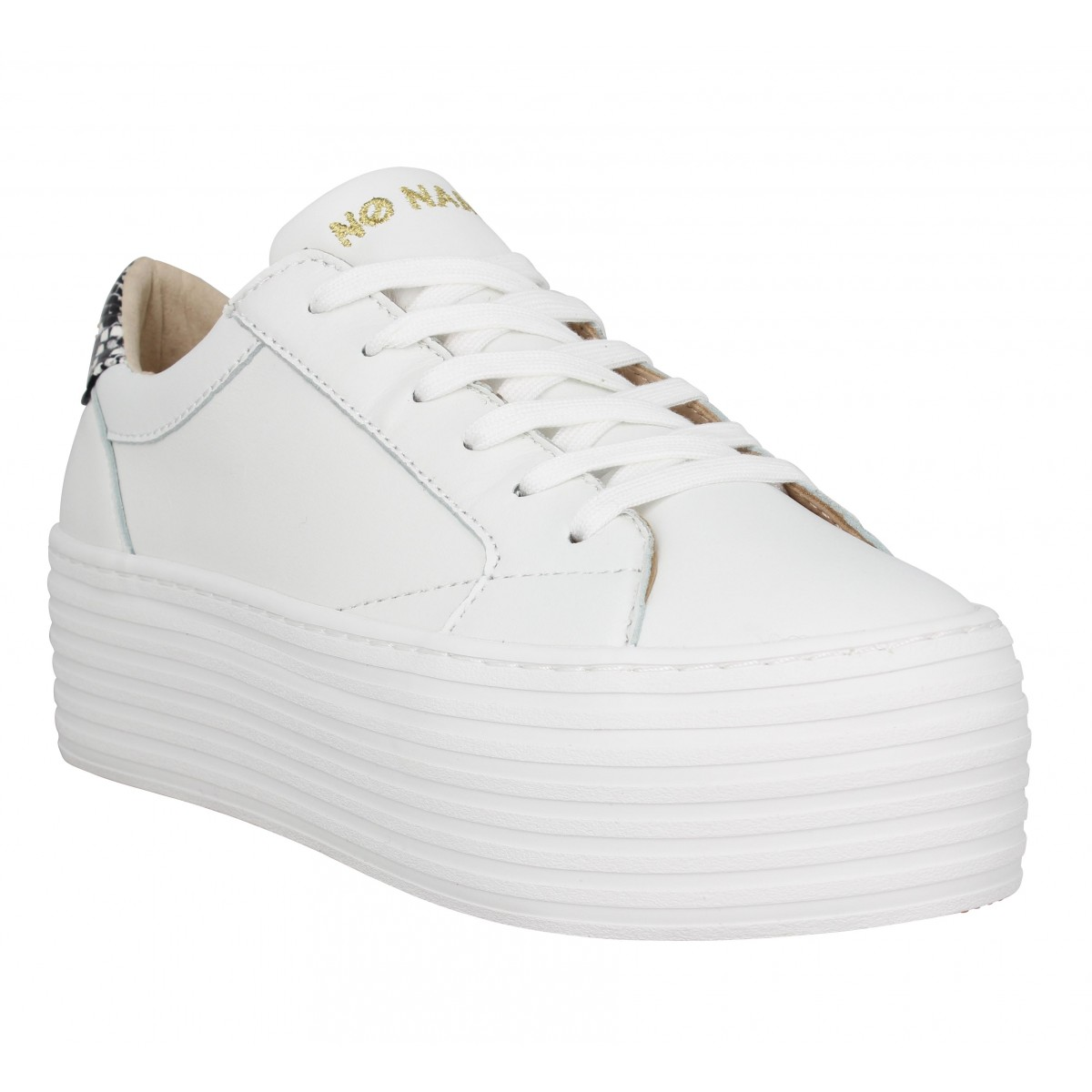 Baskets NO NAME Spice Sneaker cuir Femme Blanc Reptile