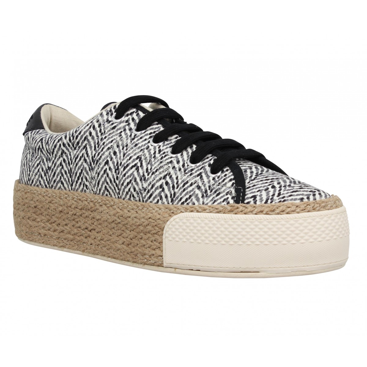 Compensées NO NAME Sunset Sneaker toile Waves Femme Gris