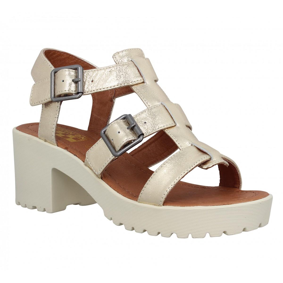Sandales talons NO NAME Tango Sandal cuir Femme Gold
