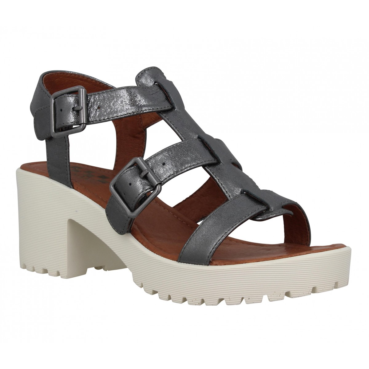 Sandales talons NO NAME Tango Sandal cuir Femme Graphite