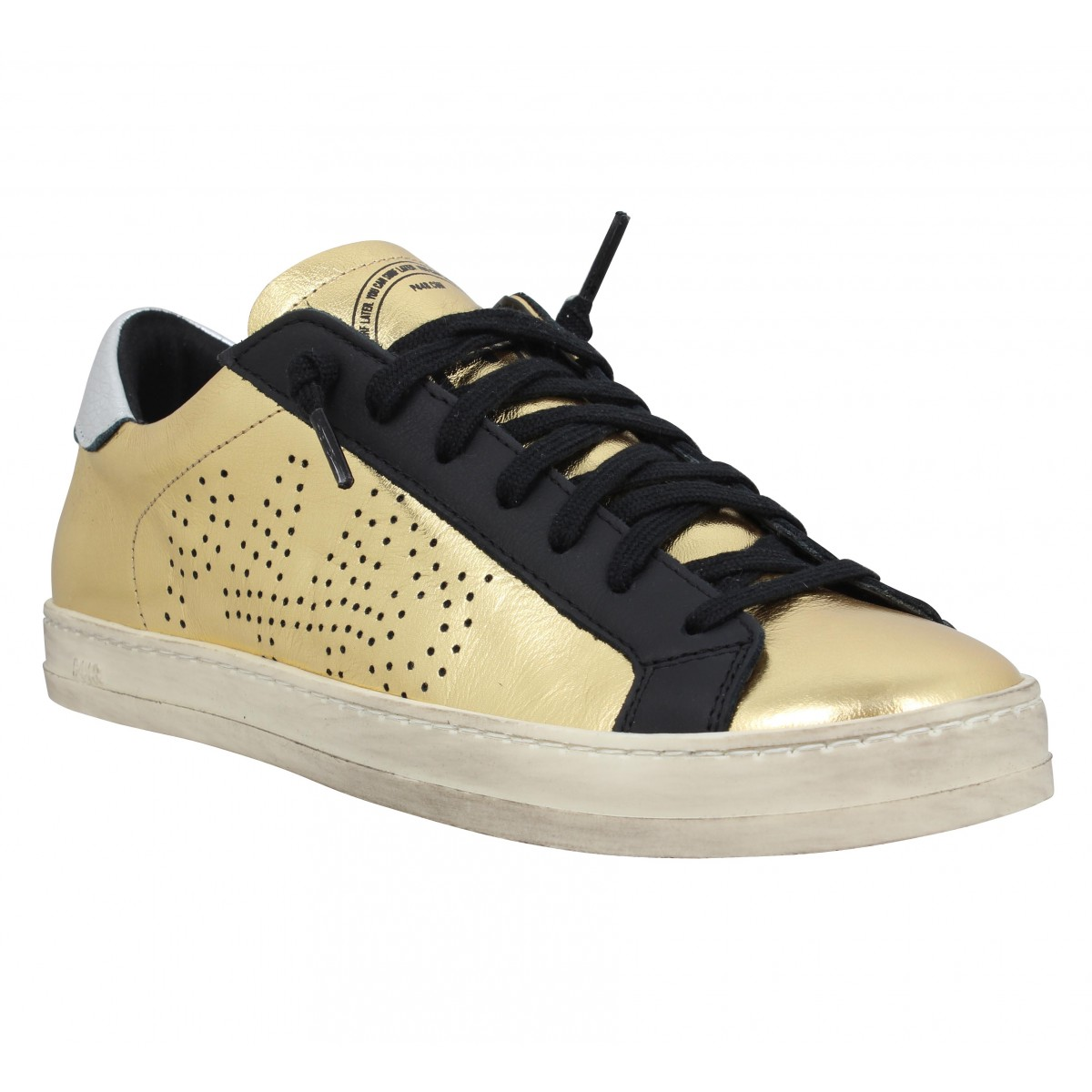 Baskets P448 John cuir Femme Gold