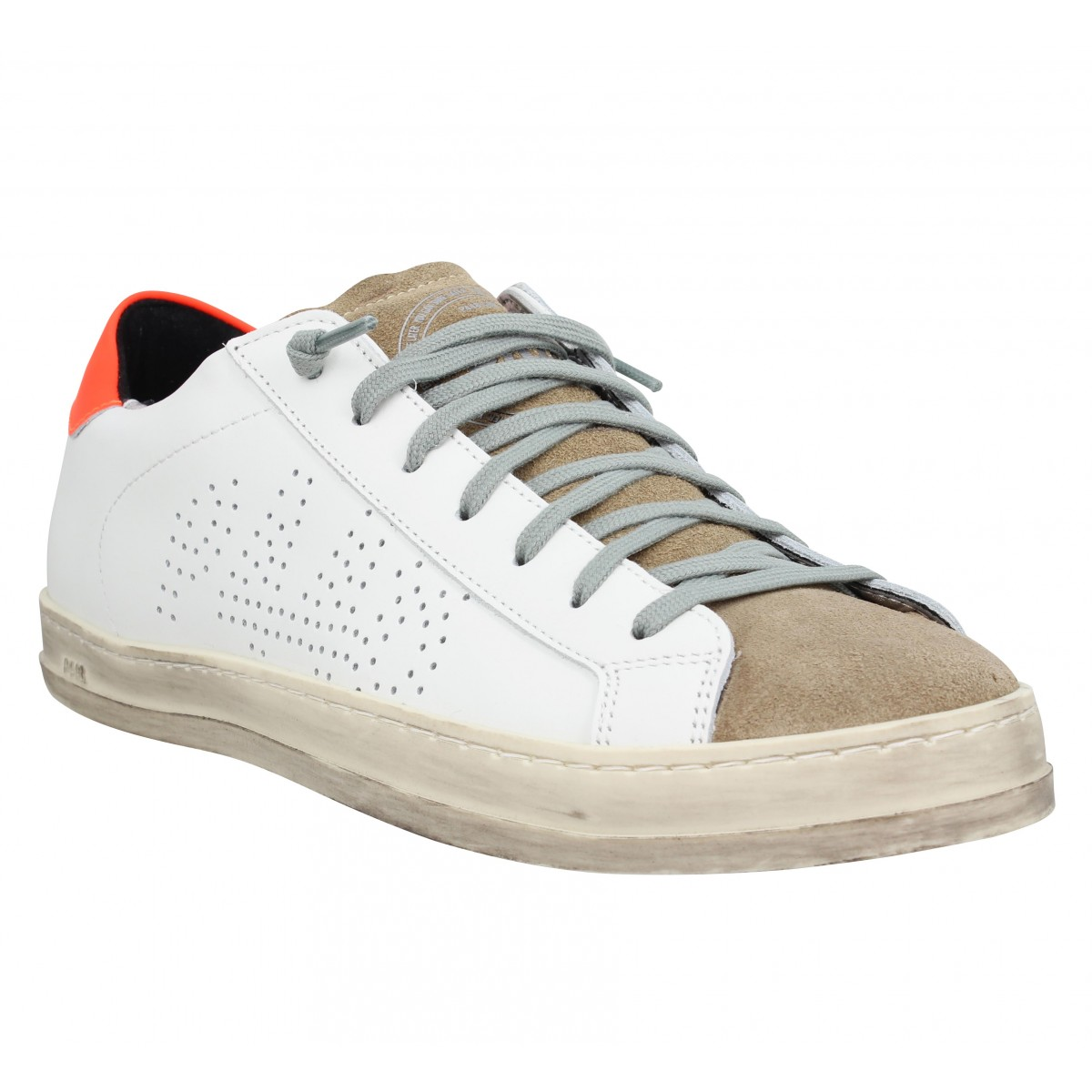 Baskets P448 John cuir velours Homme Blanc Orange