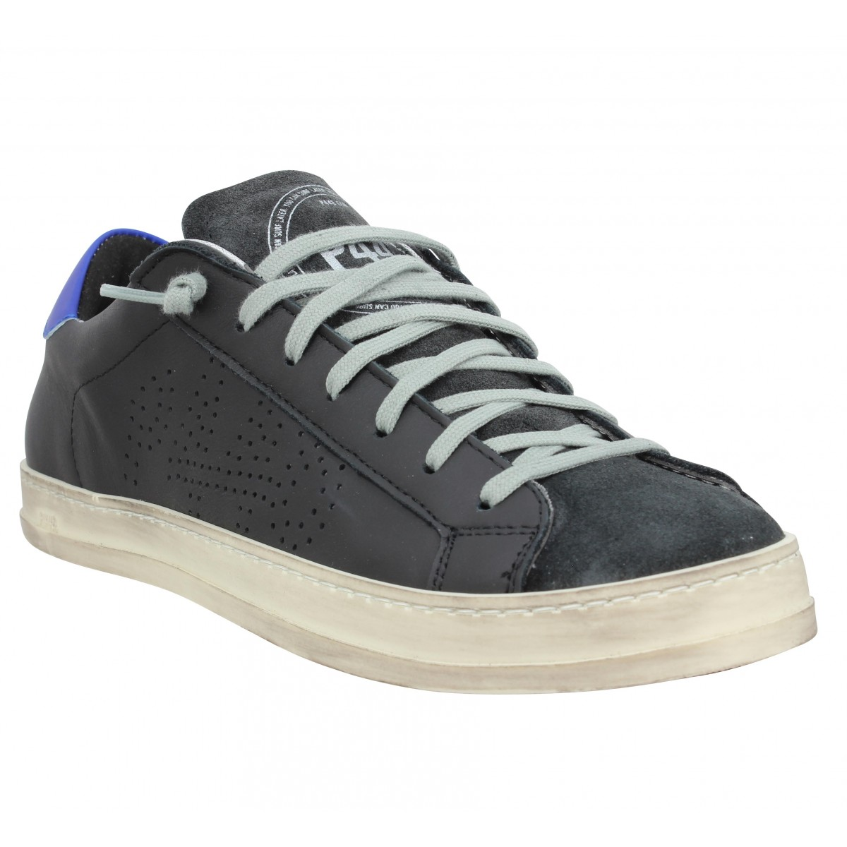Baskets P448 John cuir velours Homme Noir Bleu