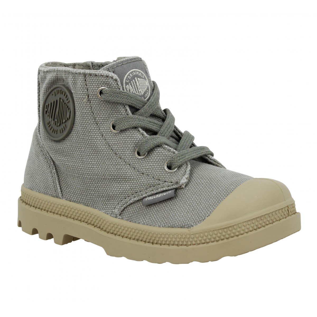 Baskets PALLADIUM Pampa Hi Zip toile Enfant Concrete