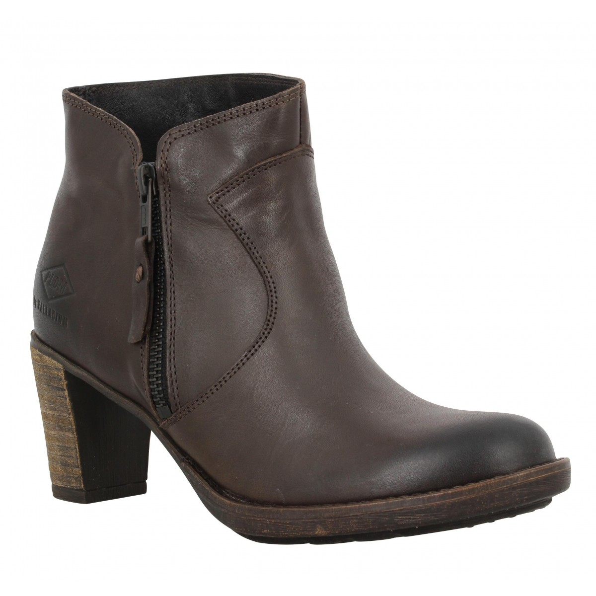 Bottines PALLADIUM Spring cuir Femme Marron Fonce