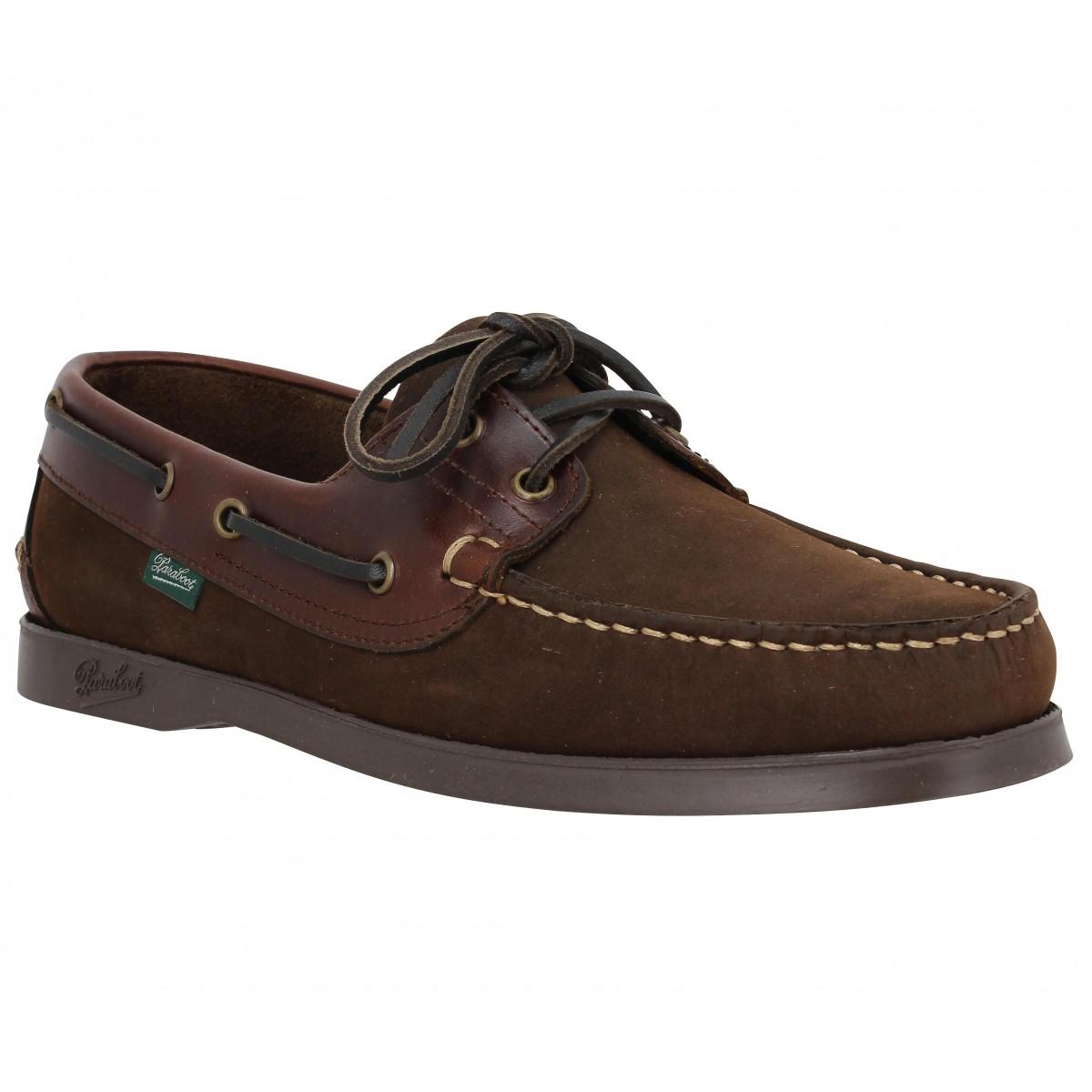 Chaussures bateaux PARABOOT Barth cuir + box gras Homme Gringo + Marron America