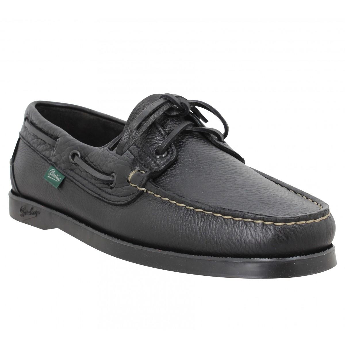 Chaussures bateaux PARABOOT Barth cuir foulonne Homme Noir