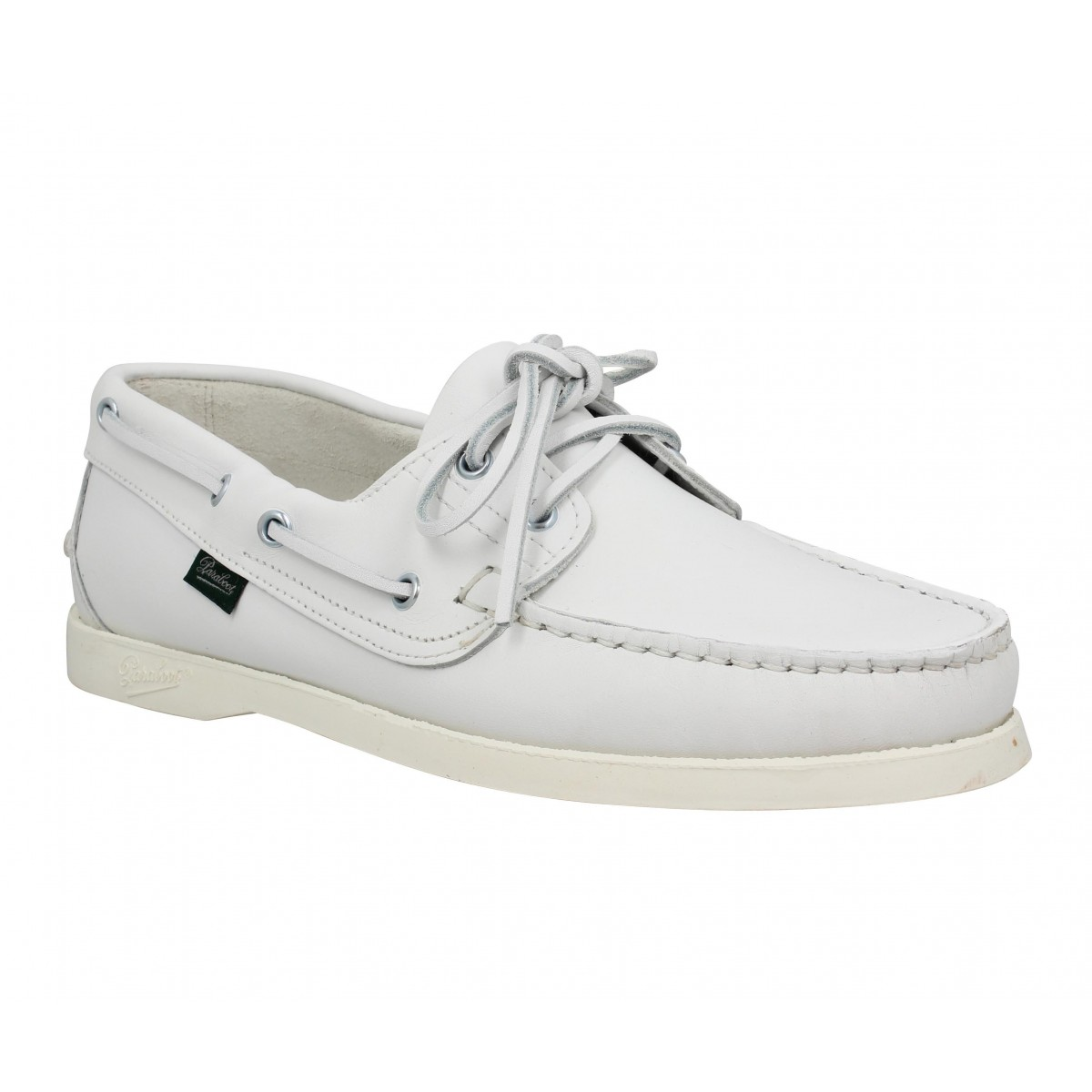 Chaussures bateaux PARABOOT Barth cuir Homme Blanc