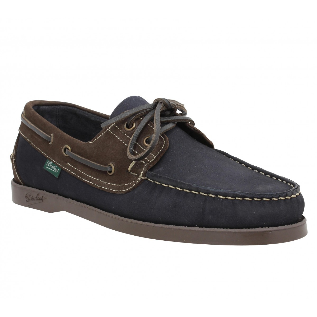 Chaussures bateaux PARABOOT Barth velours Homme Marine + Marron