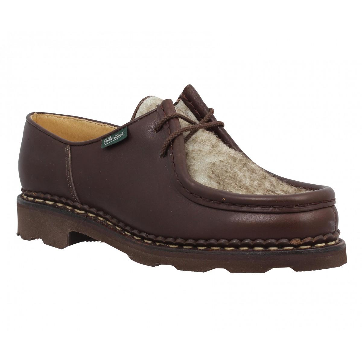 Chaussures à lacets PARABOOT Michael cuir + mouchette Femme Marron