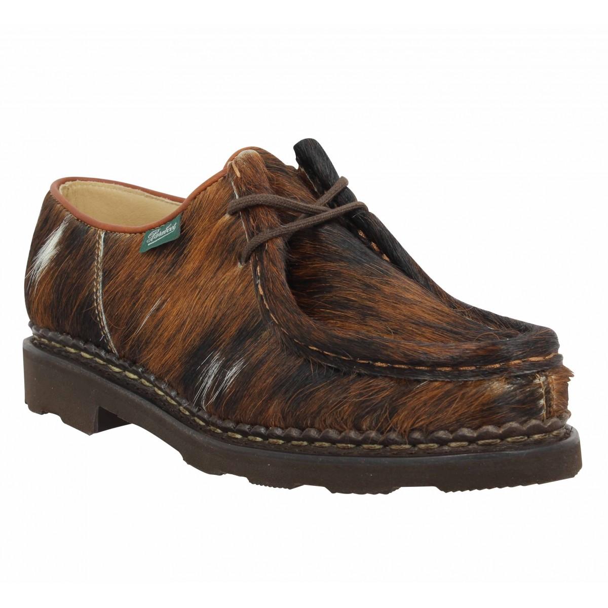 Chaussures à lacets PARABOOT Michael poils vache Femme Marron