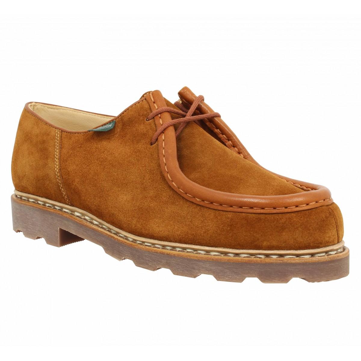 Chaussures à lacets PARABOOT Michael velours Homme Cognac