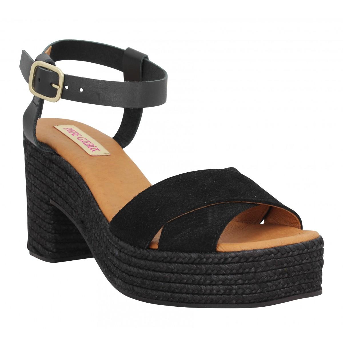 Sandales talons PARE GABIA Torix velours Femme Noir