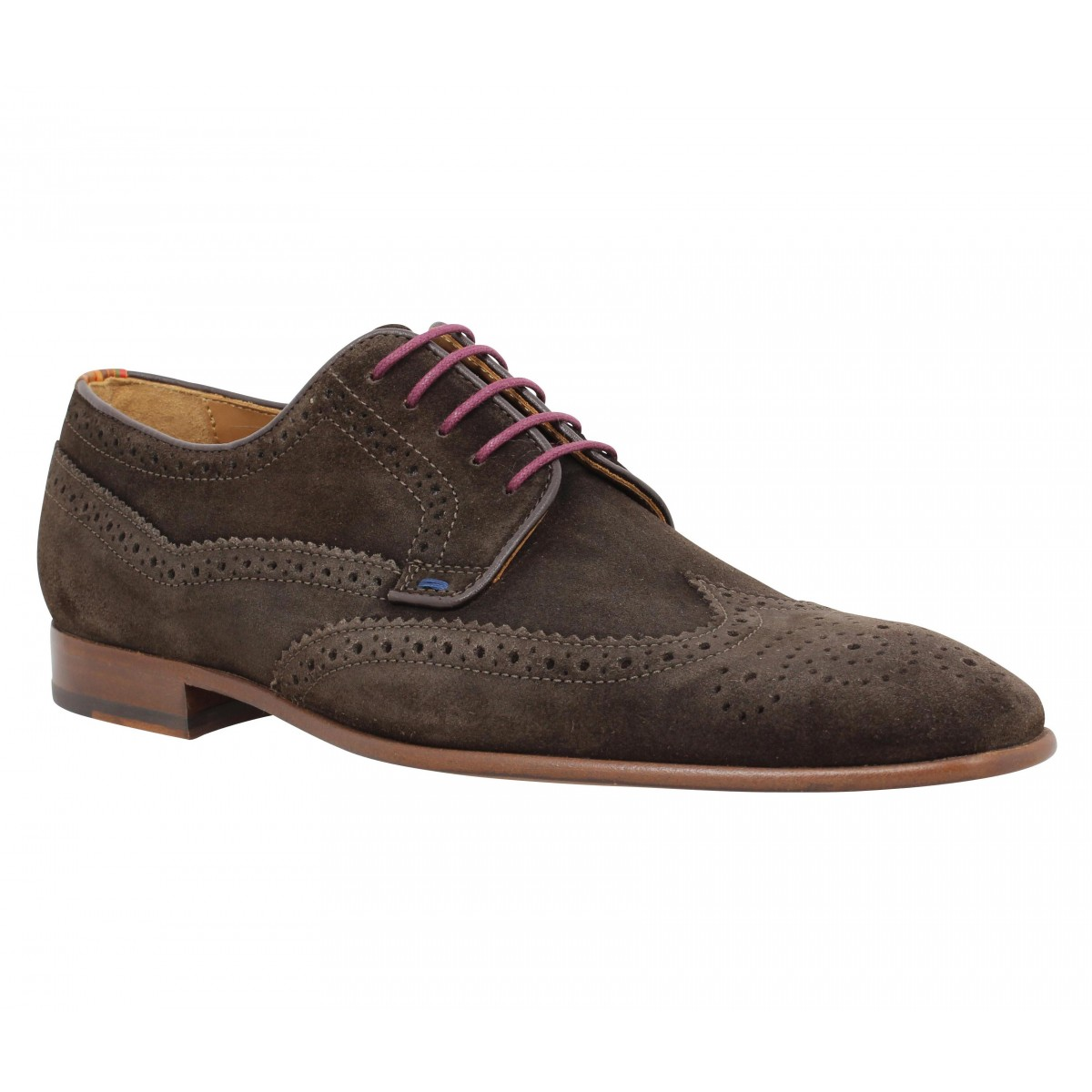 Chaussures à lacets PAUL SMITH Aldrich velours Homme Marron
