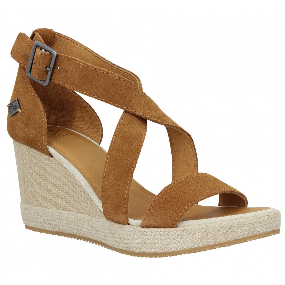 Sandales talons PLDM by PALLADIUM Wellton SUD velours Femme Ocra
