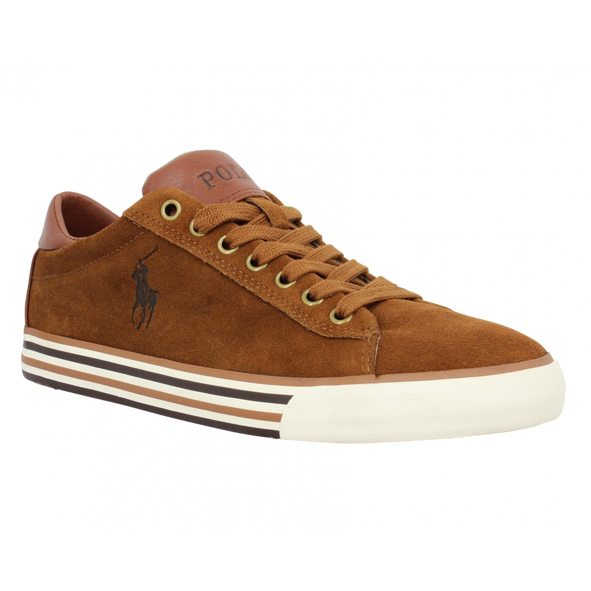 Baskets POLO RALPH LAUREN Harvey velours Homme Cognac