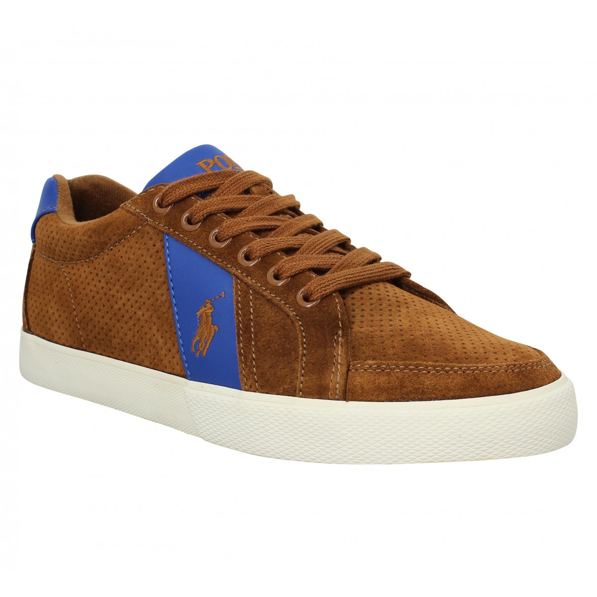Baskets POLO RALPH LAUREN Hugh velours Cognac