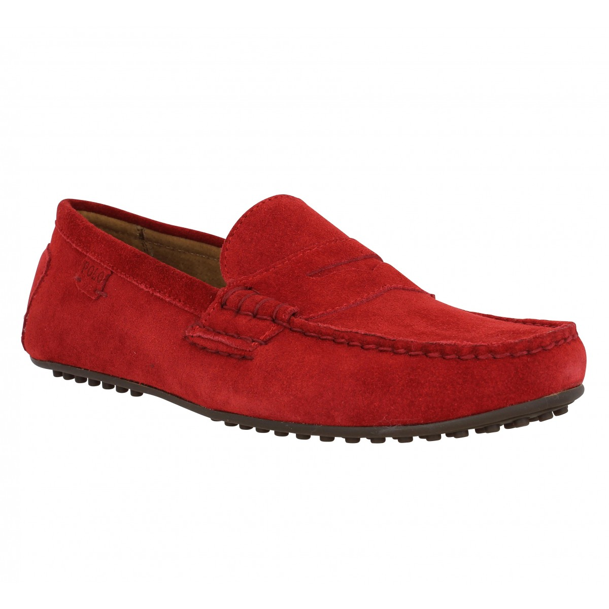 Mocassins POLO RALPH LAUREN Wes E velours Homme Rouge