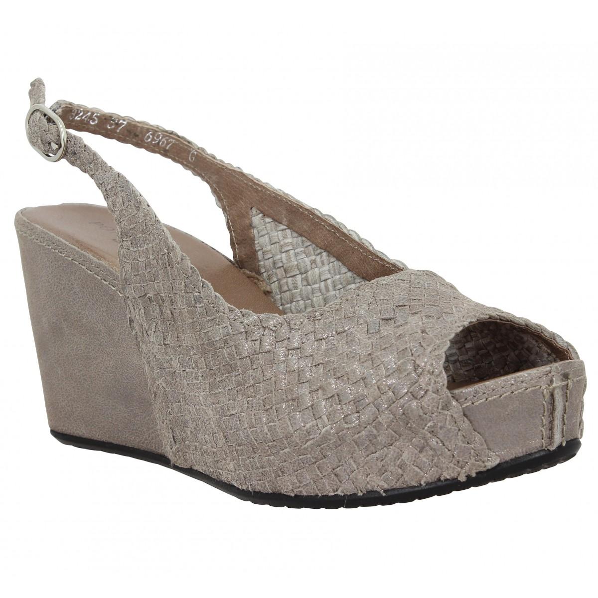 Sandales talons PONS QUINTANA 3245 cuir tresse Femme Taupe