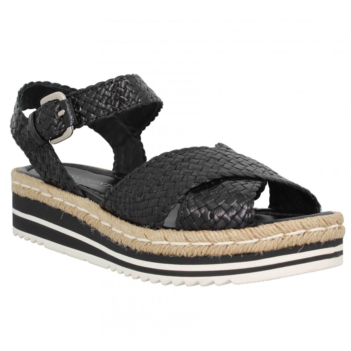 Nu-pieds PONS QUINTANA 7666 cuir Femme Noir