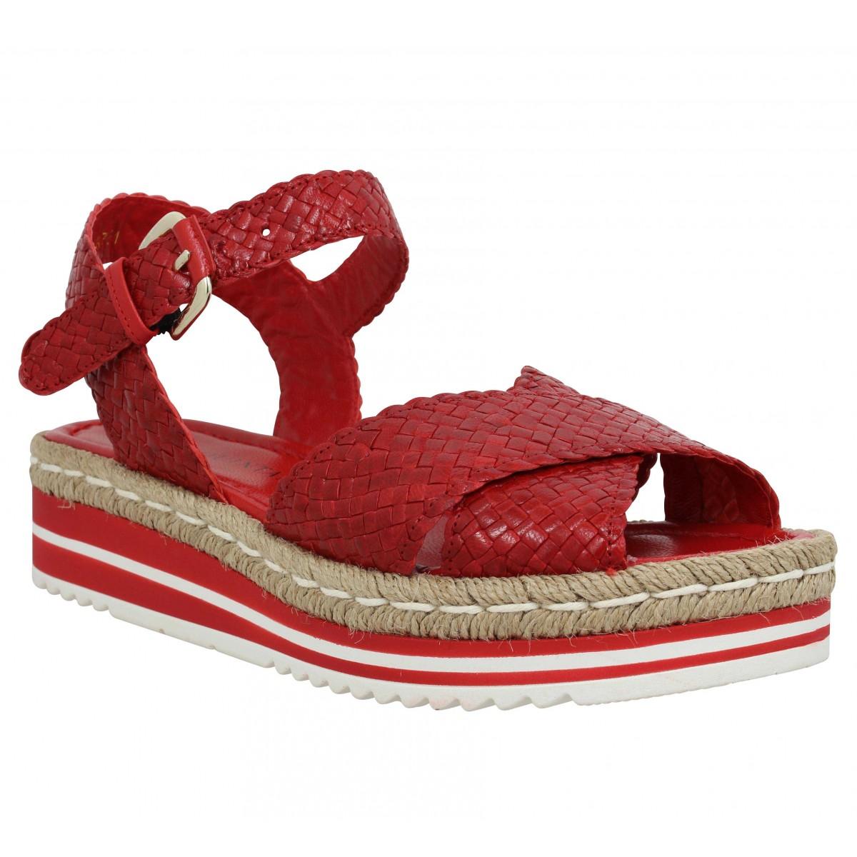 Nu-pieds PONS QUINTANA 7666 cuir Femme Rouge