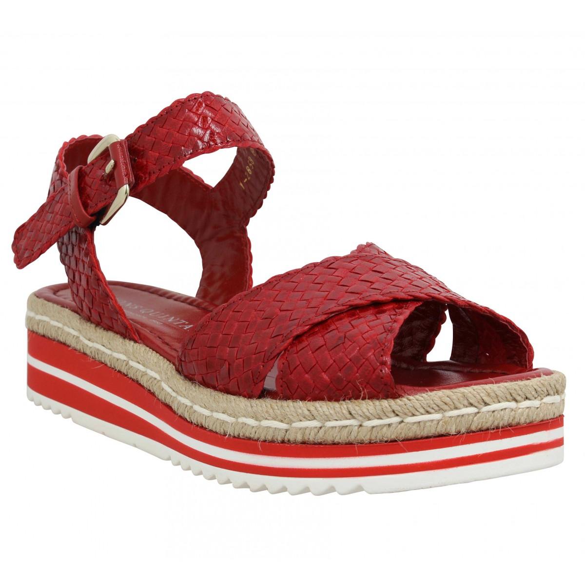 Sandales talons PONS QUINTANA 8331 cuir tresse Femme Rouge