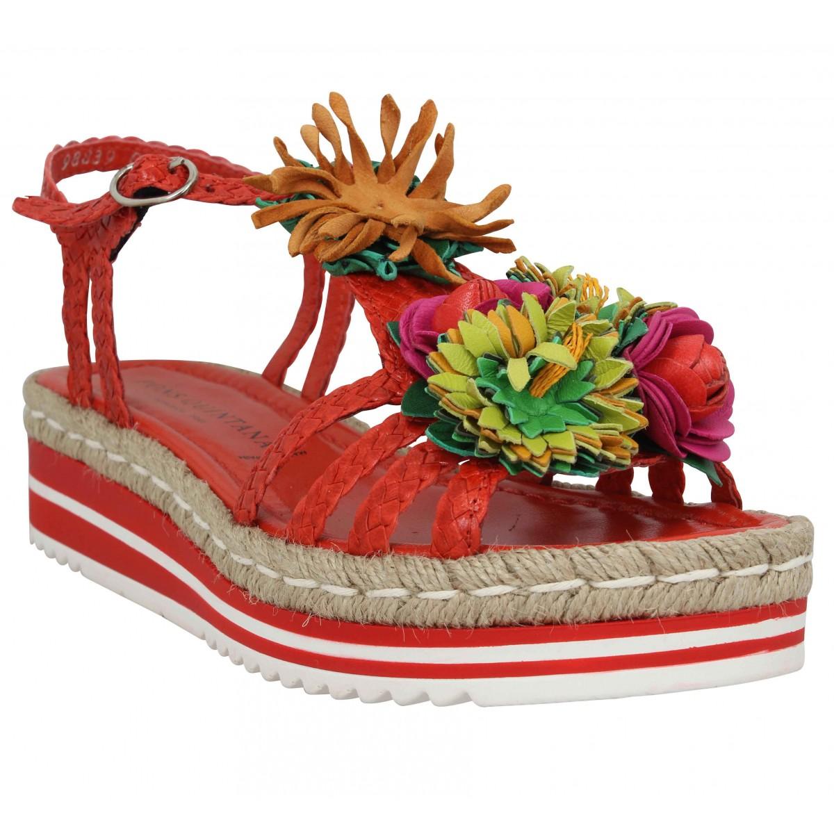 Sandales talons PONS QUINTANA 8334 cuir tresse Femme Coral