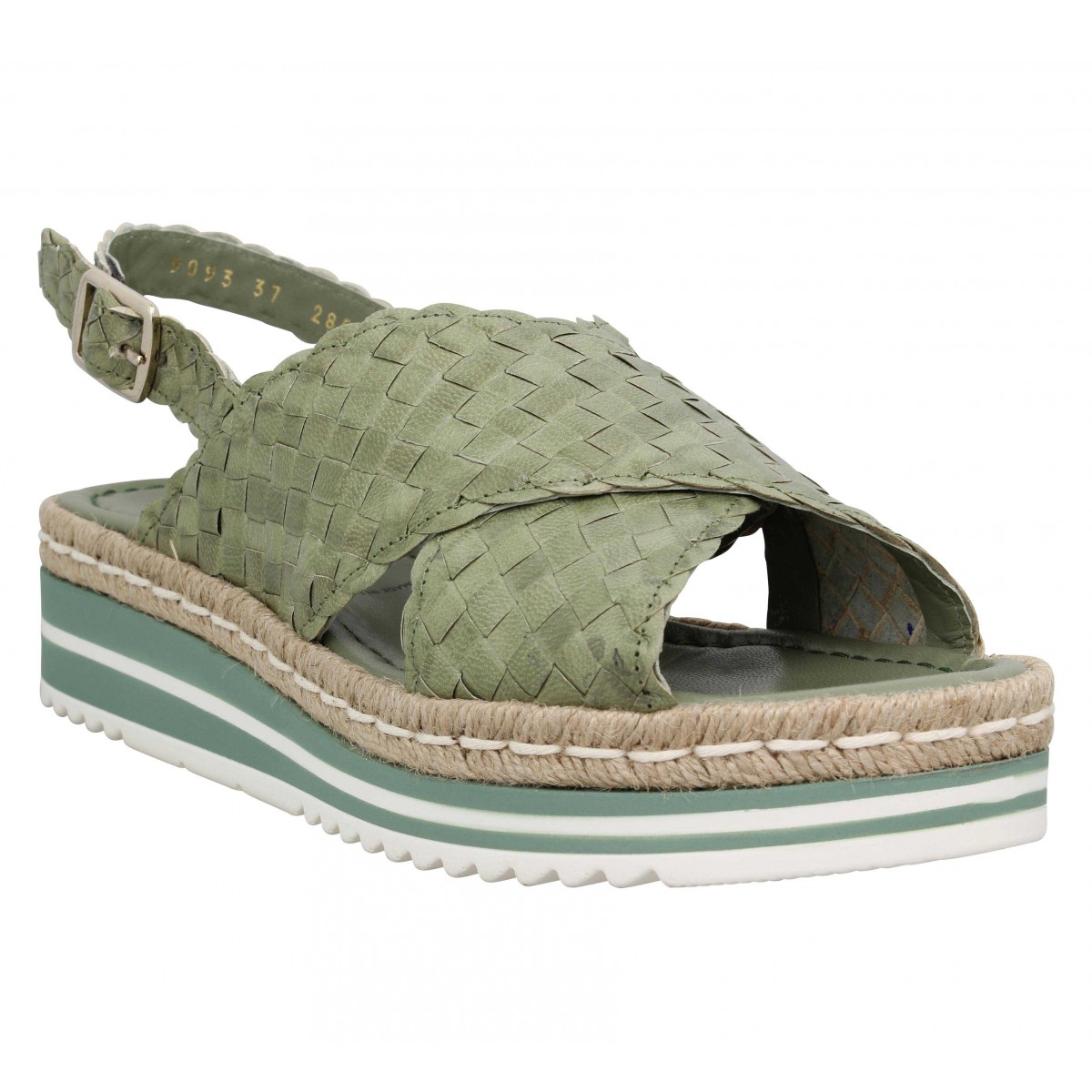 Sandales talons PONS QUINTANA 9093 cuir tresse Femme Cedre