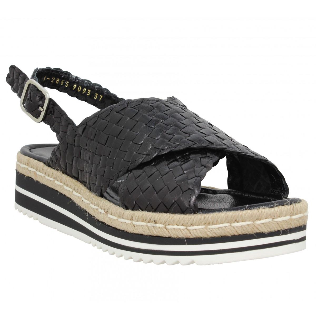 Sandales talons PONS QUINTANA 9093 cuir tresse Femme Noir