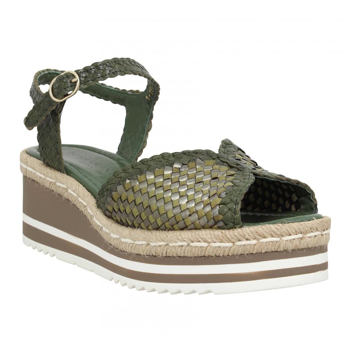 Sandales talons PONS QUINTANA 9096 cuir tresse Femme Olive
