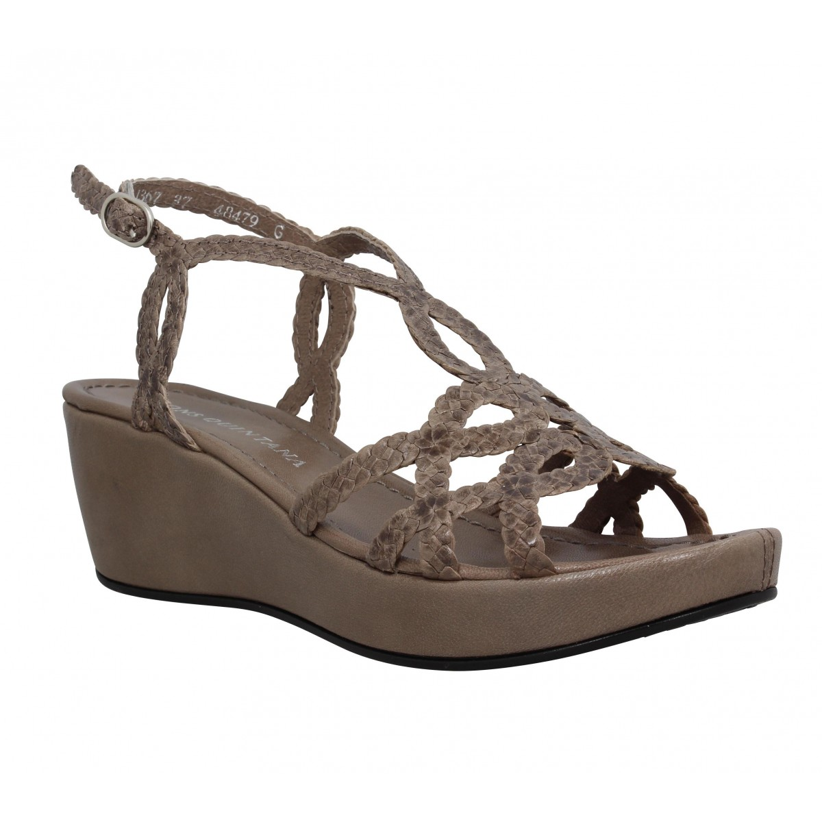 Sandales talons PONS QUINTANA Adela cuir tresse Femme Taupe