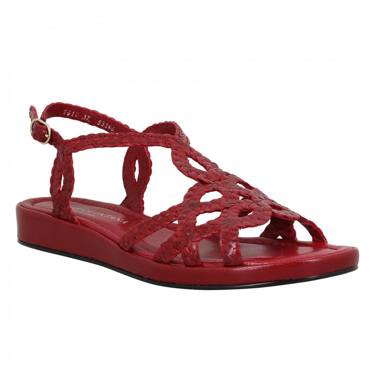Sandales talons PONS QUINTANA Alma Bis tresse Femme Rouge
