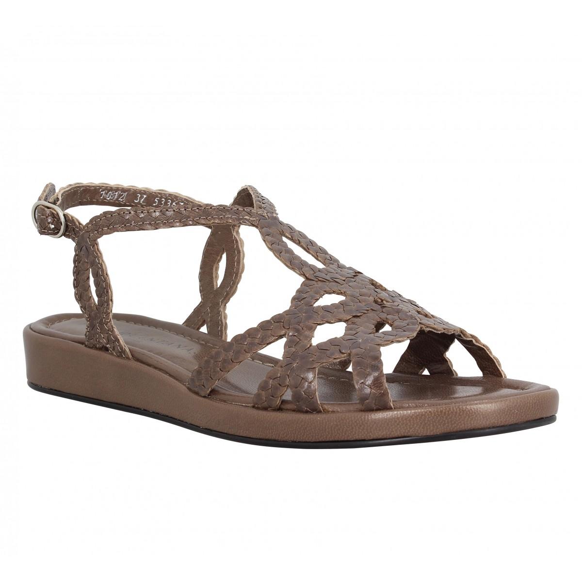 Sandales talons PONS QUINTANA Alma Bis tresse Femme Taupe