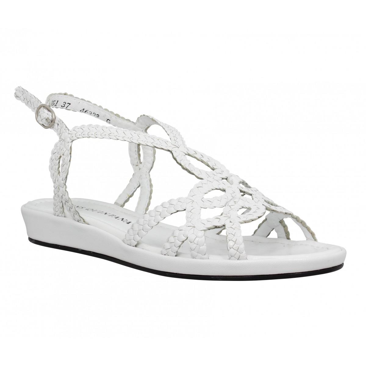 Sandales talons PONS QUINTANA Alma Bis cuir tresse Femme Blanc