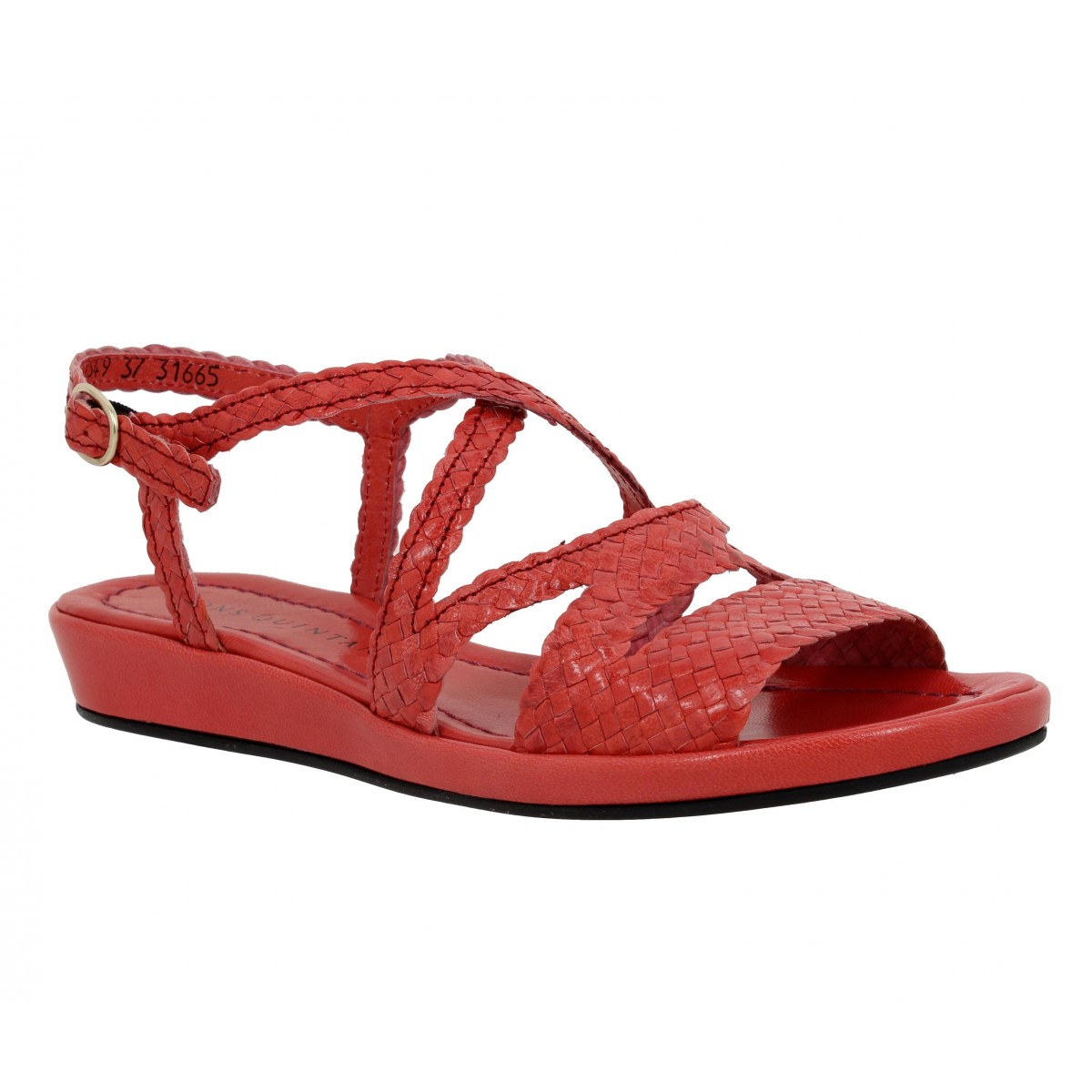 Sandales talons PONS QUINTANA Alma cuir tresse Femme Fraise