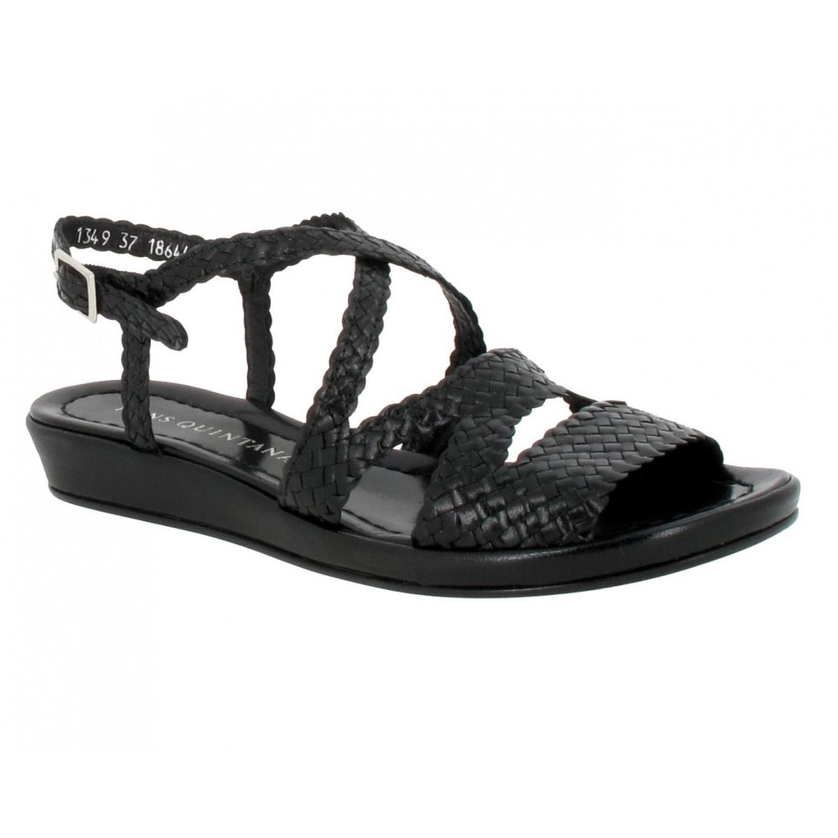 Sandales talons PONS QUINTANA Alma cuir tresse Femme Noir