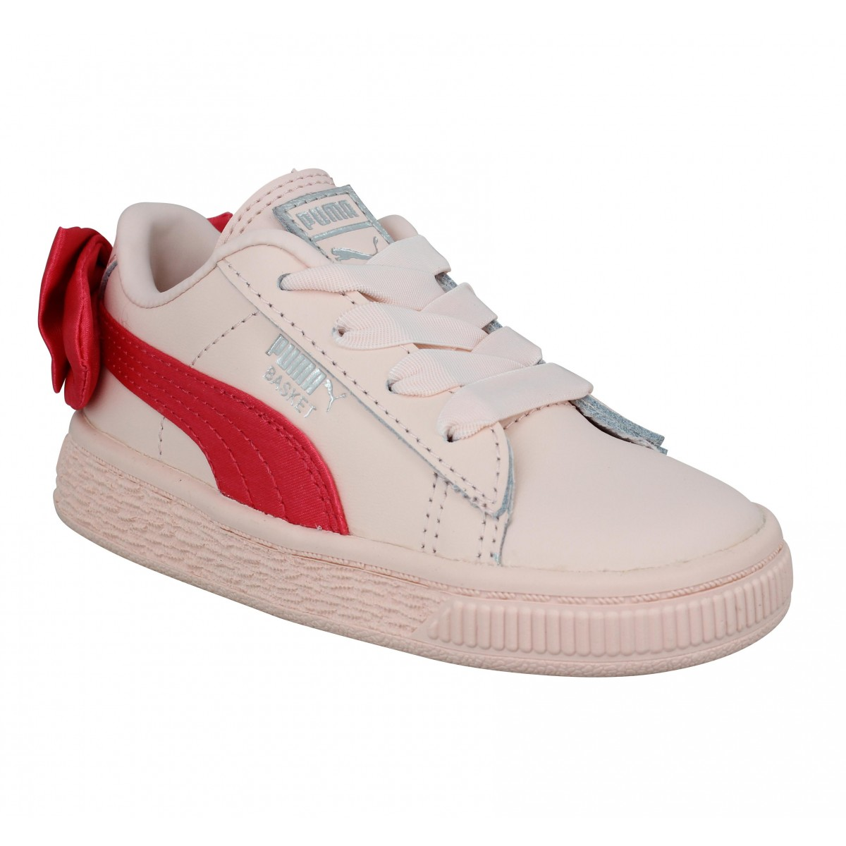 Baskets PUMA Basket Bow cuir Enfant Rose