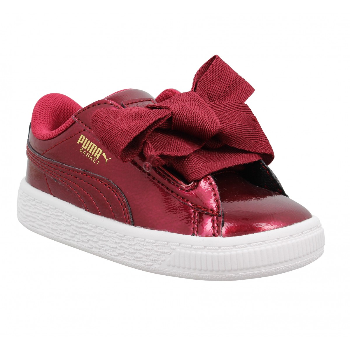 Baskets PUMA Basket Heart Glam vernis Enfant Rouge