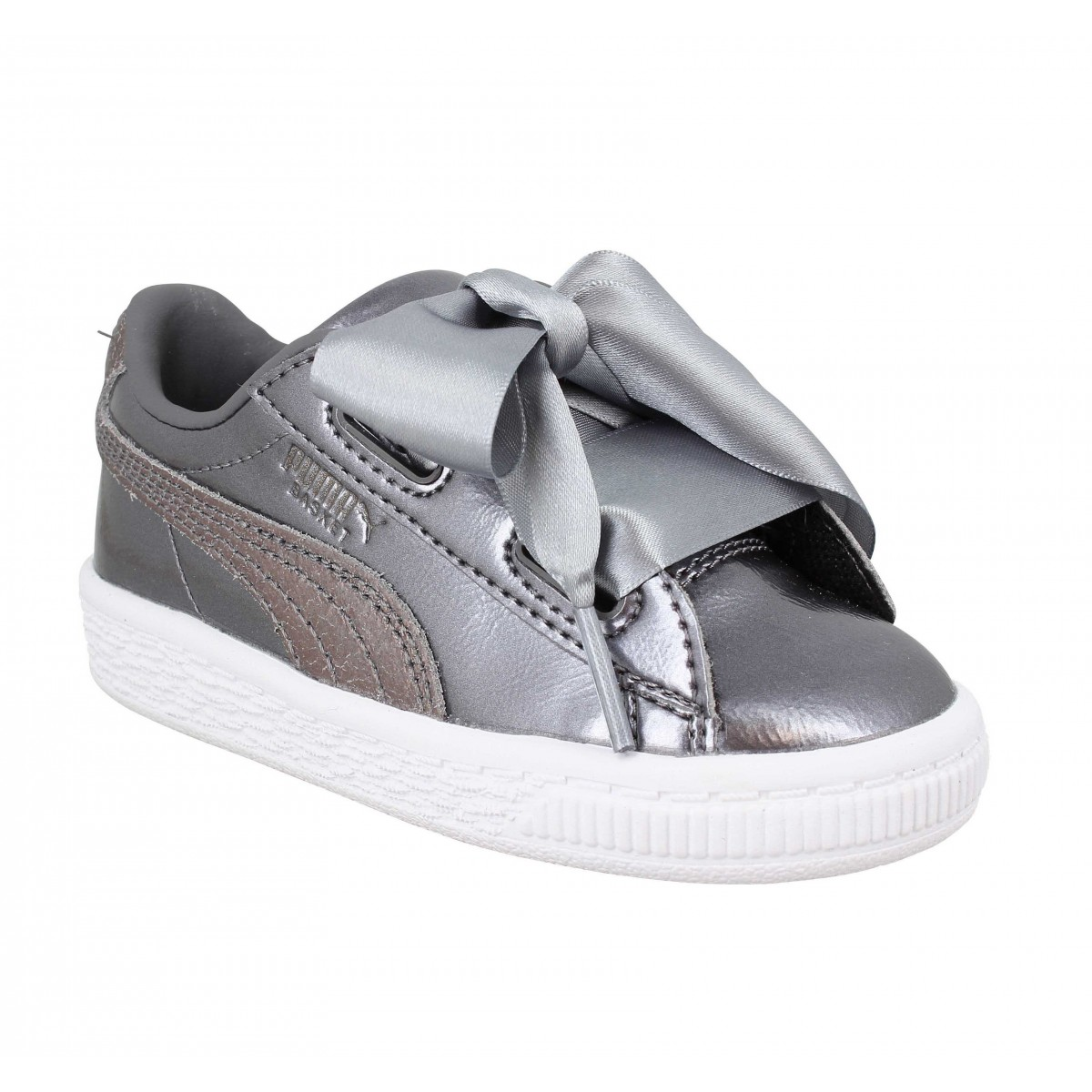 056e0e22e11 Puma basket heart lunar lux simili cuir enfant smoked enfants ...