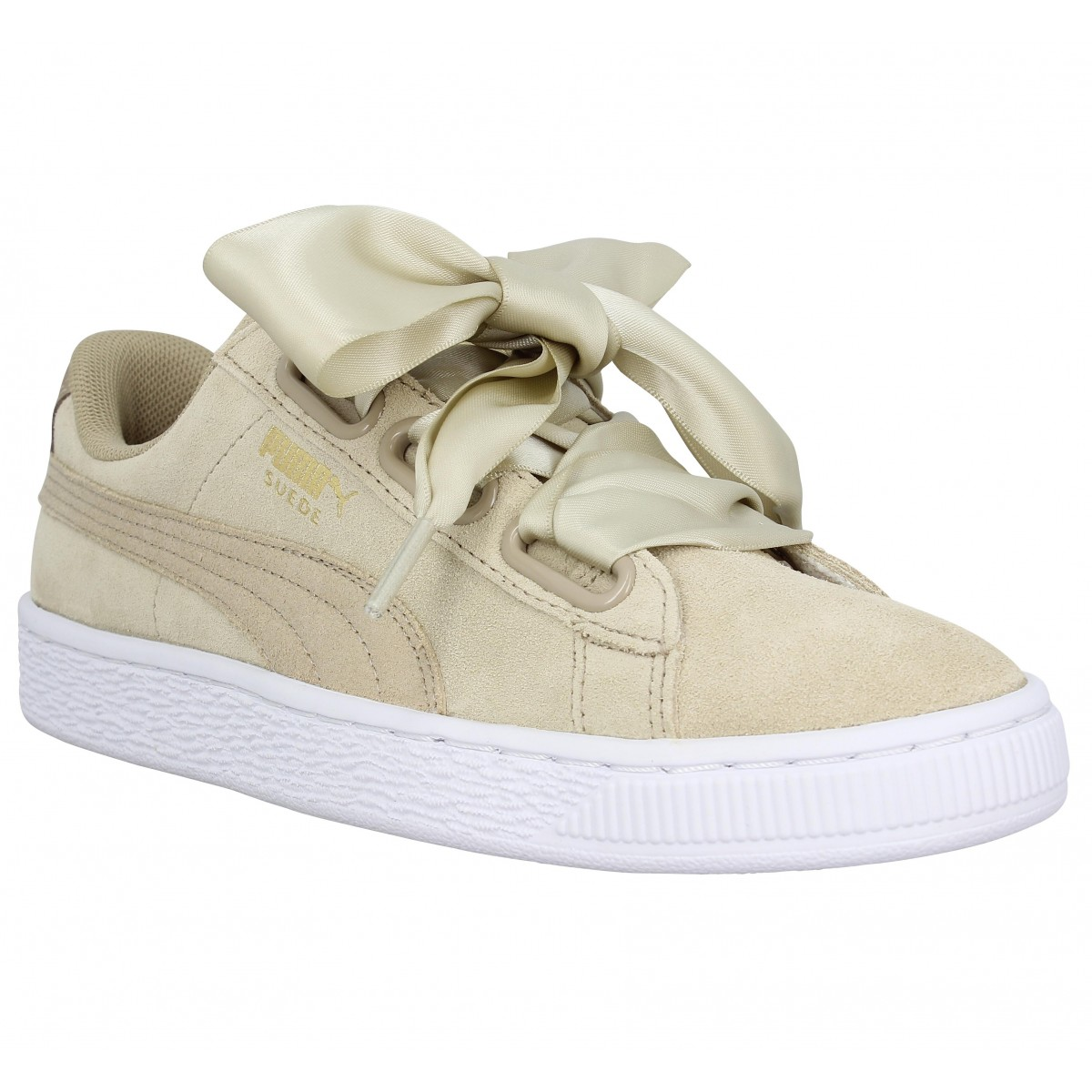 Baskets PUMA Basket Heart Safari velours Femme Beige