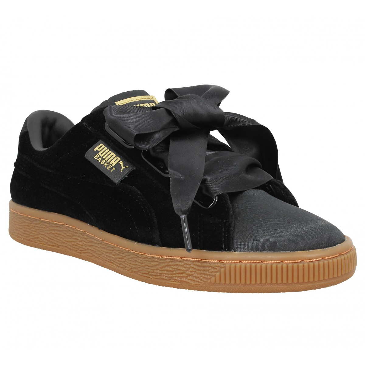 puma basket heart velvet femme noir femme fanny chaussures. Black Bedroom Furniture Sets. Home Design Ideas