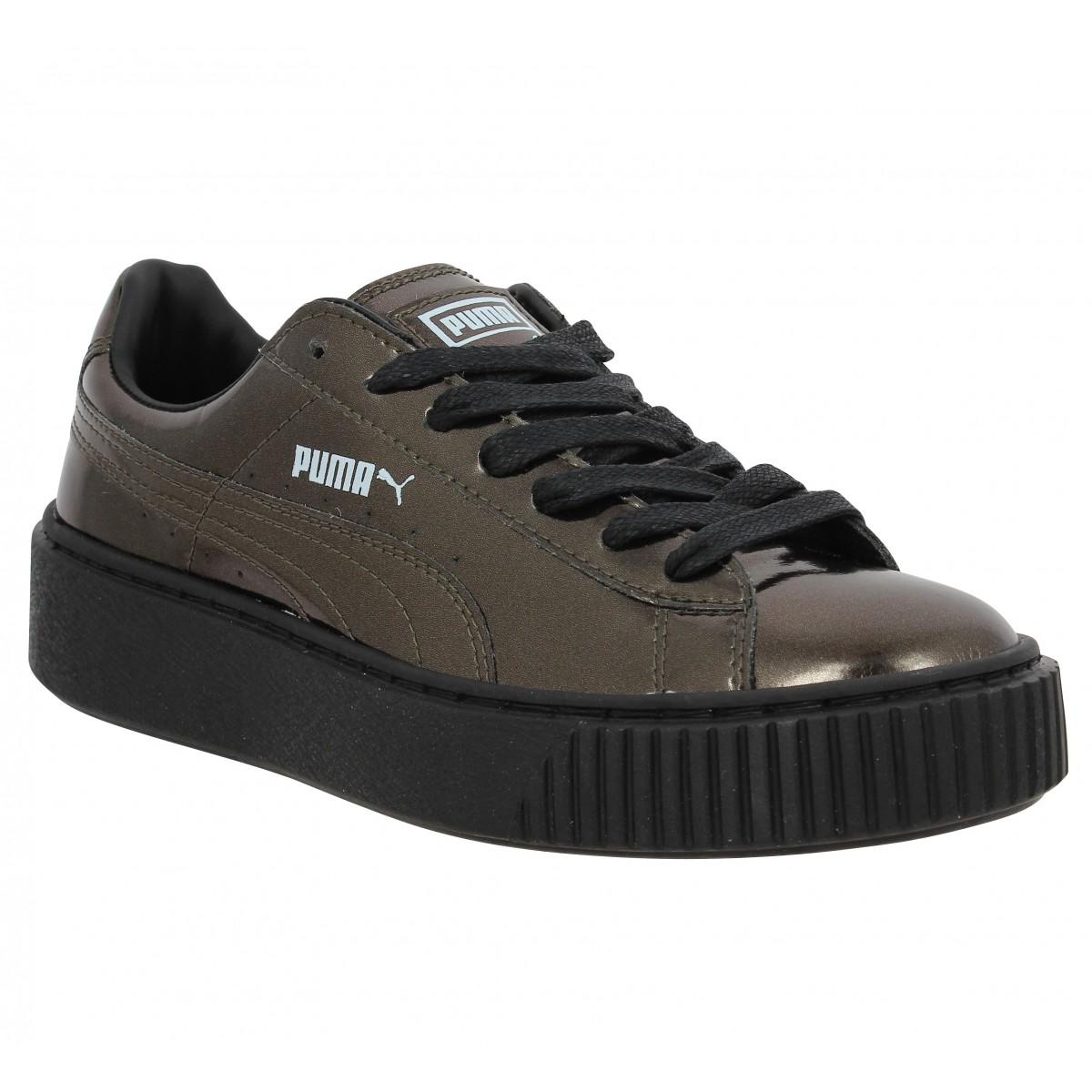 Metallic Chaussures Puma Platform FemmeFanny Noir Basket wilOPkZuXT