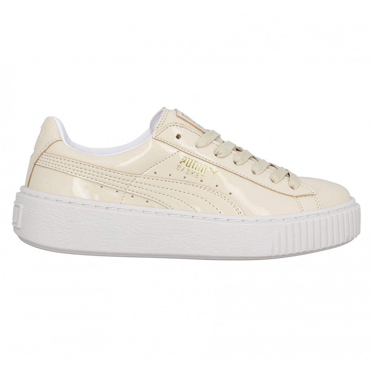 sports shoes aa5b5 2be2b Puma PLATFORM PATENT BEIGE Beige - Chaussures Basket Homme GH8HUA1Z -  destrainspourtous.fr