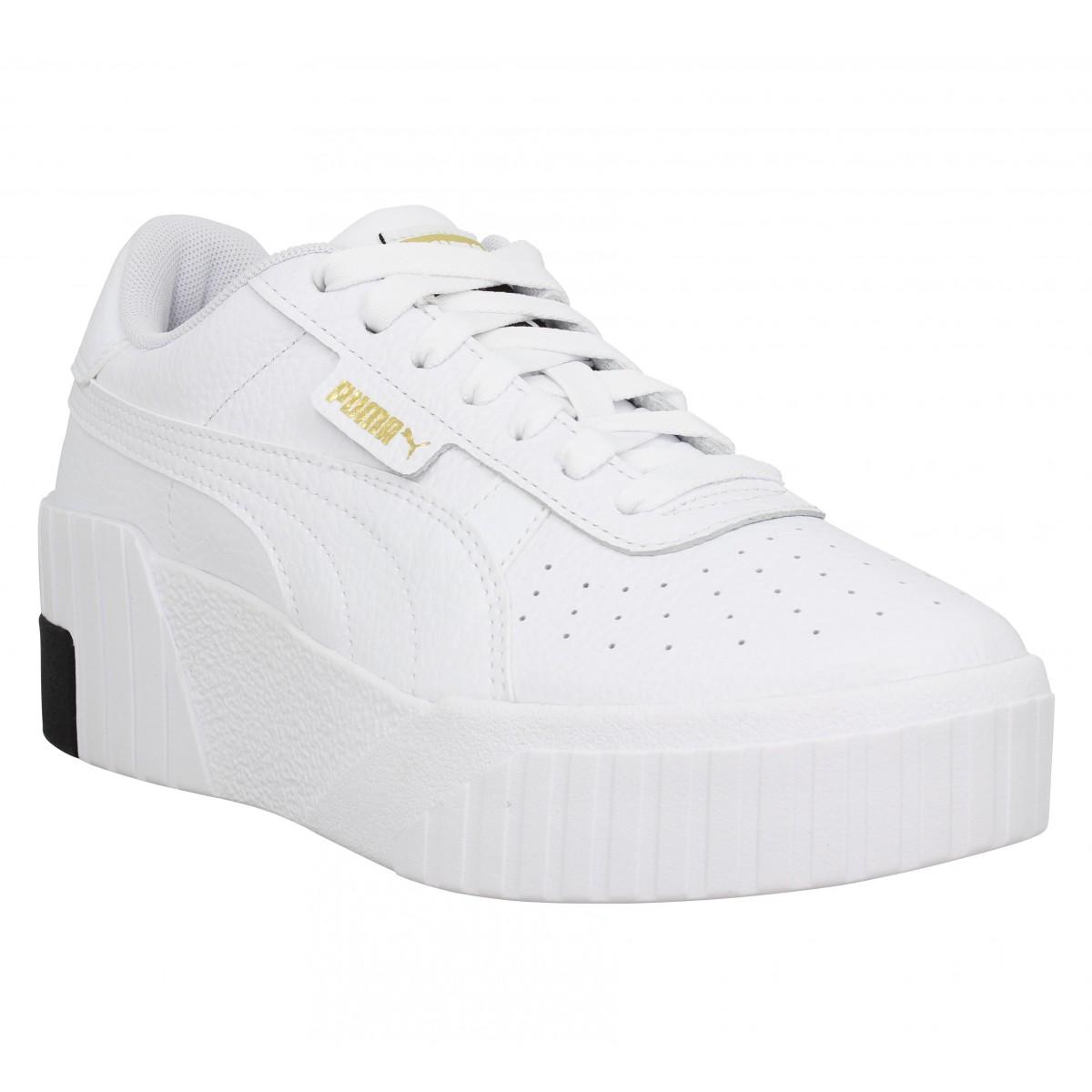 Chaussures Puma cali wedge cuir femme blanc femme | Fanny chaussures