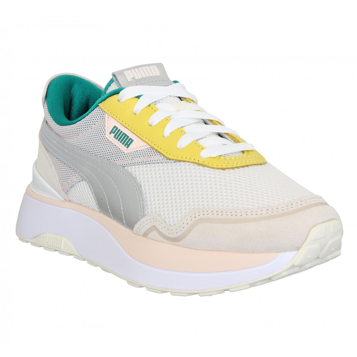 Baskets PUMA Cruise Rider velours toile Femme Silver Pink